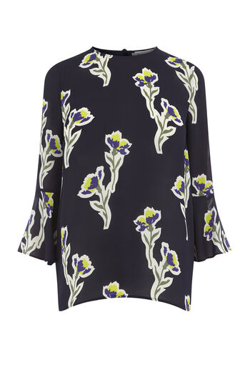Warehouse, IRIS FLUTED SLEEVE TOP Navy 0