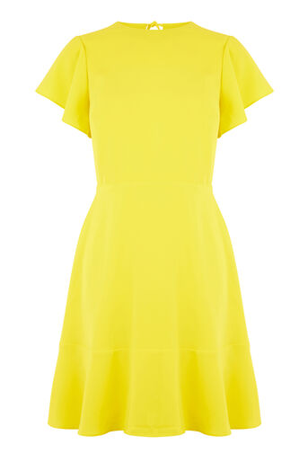 Warehouse, FLARED SLEEVE SKATER DRESS Yellow 0