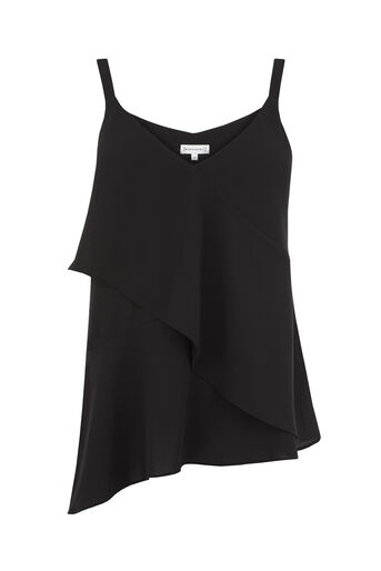 Warehouse, ASYMMETRIC LAYERED CAMI Black 0