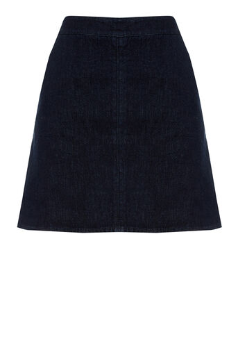 Warehouse, Denim A Line Skirt Indigo Denim 0