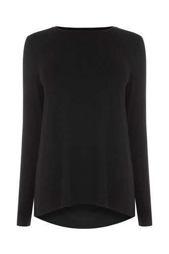 Warehouse, PLEAT BACK WOVEN MIX TOP Black 0