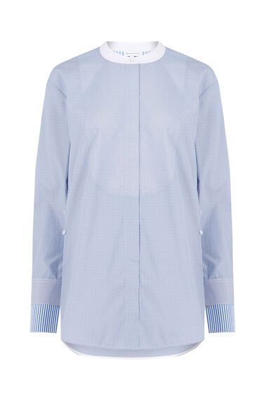 Warehouse, OVERSIZED STRIPE GRANDAD SHIRT Blue Stripe 0