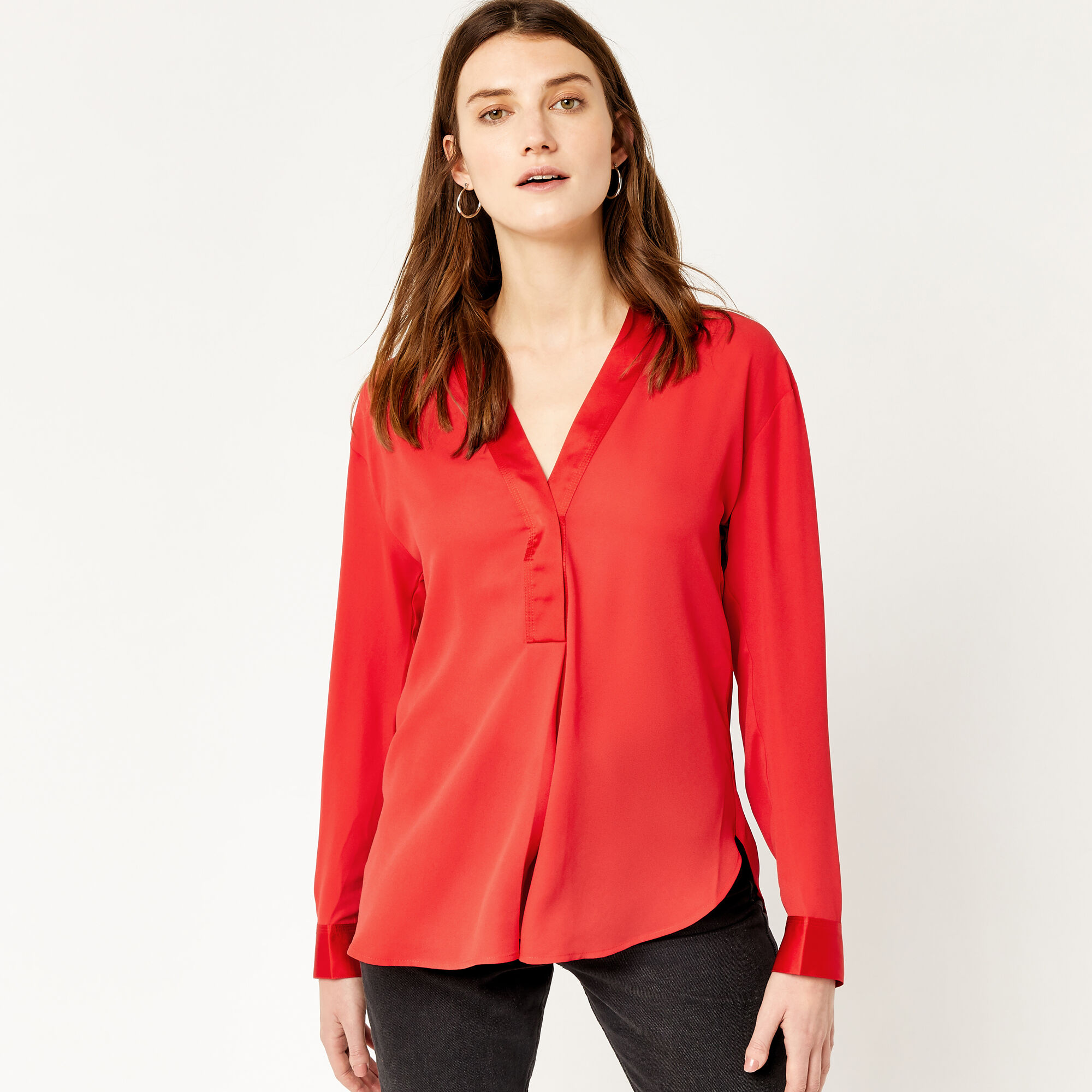 Warehouse, LONG SLEEVE SATIN MIX BLOUSE Bright Red 1