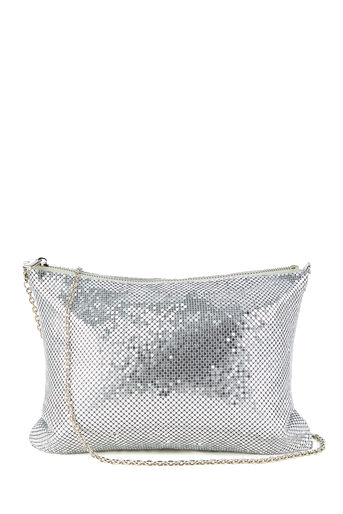 Warehouse, CHAINMAIL TOP ZIP CROSSBODY Silver Colour 0