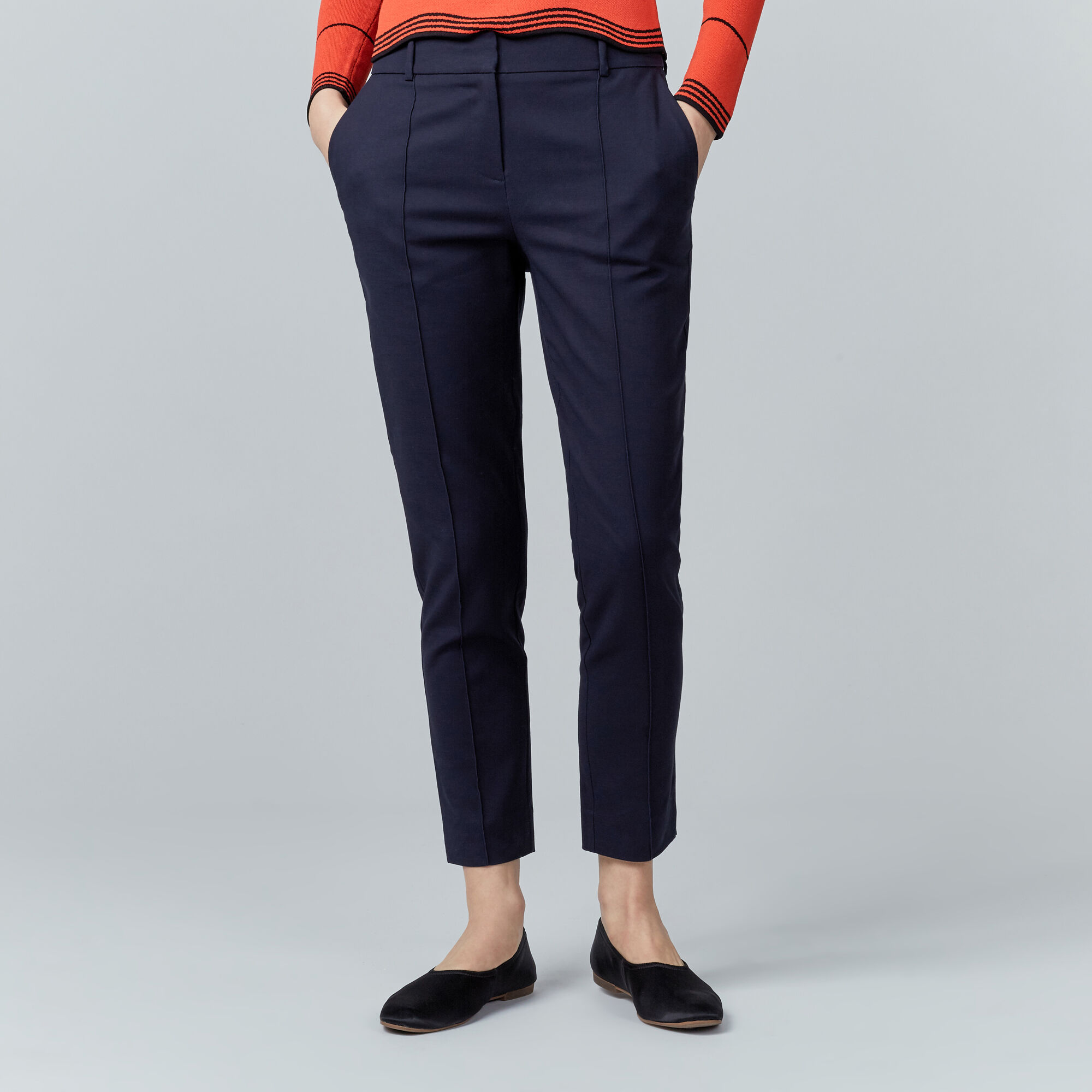 Warehouse, COMPACT COTTON TROUSERS Navy 1