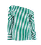 Warehouse, STRIPE BOAT NECK TOP Green Stripe 0
