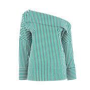 Warehouse, STRIPE BOAT NECK TOP Green Stripe 0