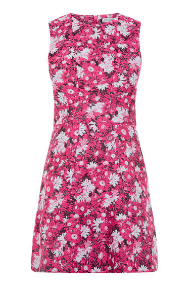 Warehouse, ASTER FLORAL JACQUARD DRESS Pink Pattern 0