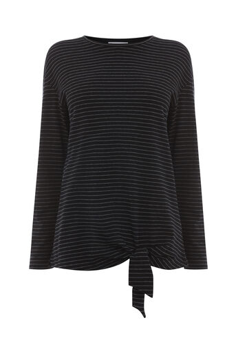 Warehouse, STRIPE LONG SLEEVE TIE TOP Black Stripe 0