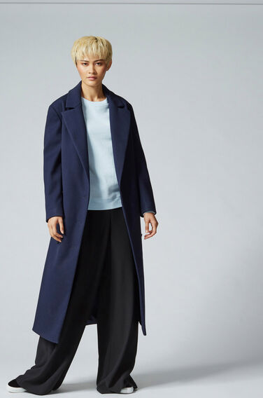 Warehouse, PREMIUM LONGLINE BELTED COAT Navy 1