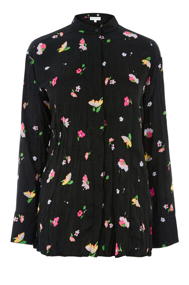 Warehouse, WOODSTOCK FLORAL CRINKLE SHIRT Black Pattern 0