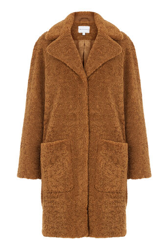 Warehouse, Teddy Faux Fur Coat Tan 0