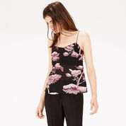 Warehouse, ORIENTAL FOREST SILK CAMI Purple Pattern 1