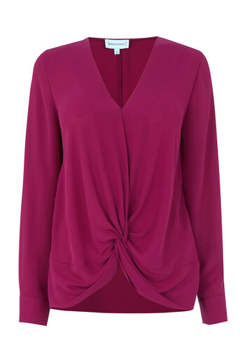 Warehouse, KNOT FRONT LONG SLEEVE TOP Raspberry 0