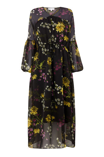 Warehouse, DUTCH FLORAL MIDI DRESS Black Pattern 0