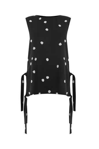 Warehouse, DOTTY PRINT TIE SIDE SHELL TOP Black Pattern 0