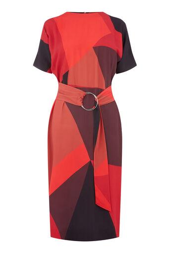 Warehouse, Wiggle-jurk met opengewerkte print Rood patroon 0