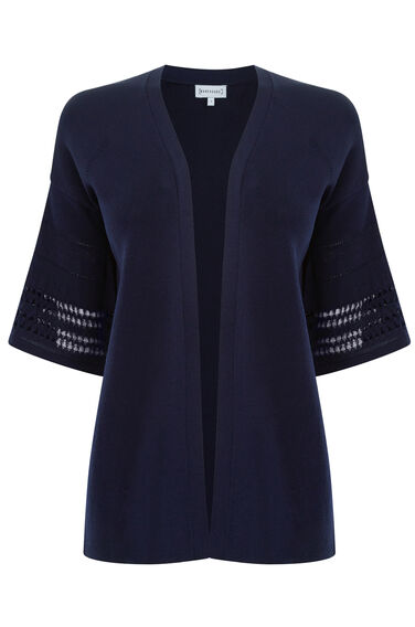 Warehouse, POINTELLE FLUTED CUFF CARDI Navy 0