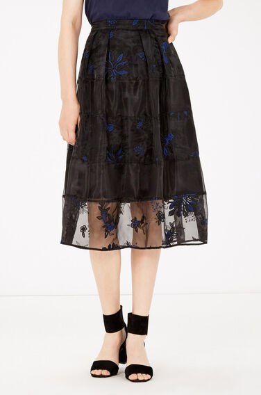 Warehouse, FLORAL EMBROIDERED MIDI SKIRT Black 1