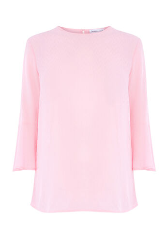 Warehouse, FLUTED SLEEVE TEXTURED TOP Light Pink 0