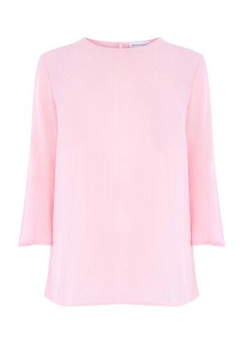 Warehouse, FLUTED SLEEVE TEXTURED TOP Light Pink 0