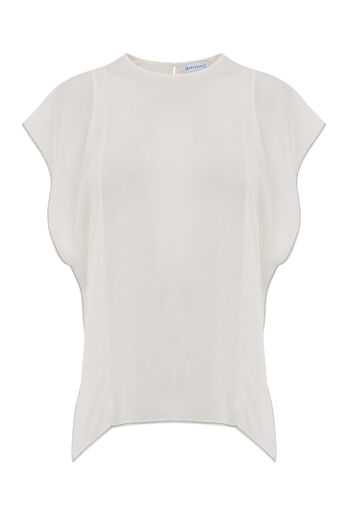 Warehouse, RUFFLE SLEEVE TOP Cream 0