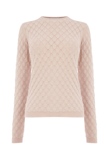 Warehouse, SPARKLE SCALLOP STITCH JUMPER Light Pink 0