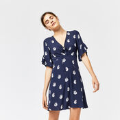 Warehouse, SWAN PRINT DRESS Blue Pattern 1