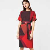 Warehouse, GEO PRINT WIGGLE DRESS Red Pattern 3