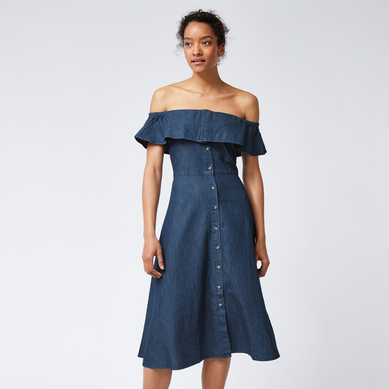 Warehouse, Bardot Ruffle Dress Mid Wash Denim 1