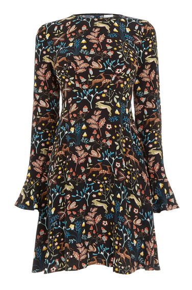 Warehouse, THISTLE PRINT SKATER DRESS Black 0