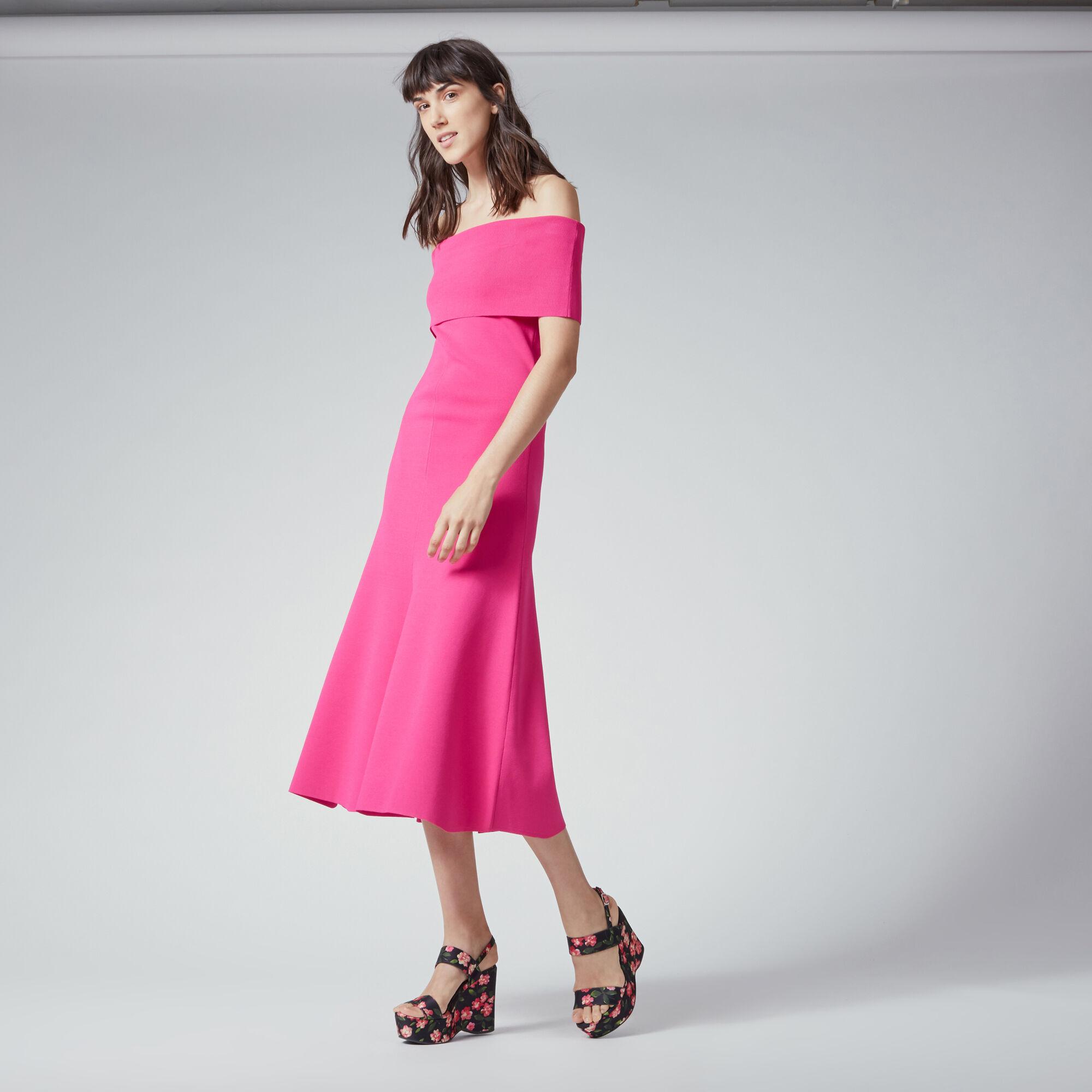 Warehouse, DEEP BARDOT KNIT DRESS Bright Pink 1