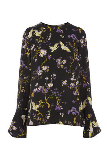 Warehouse, FLORAL BIRD GROSGRAIN TOP Black Pattern 0