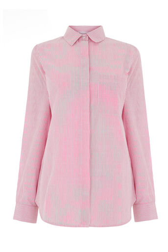 Warehouse, CASUAL SEERSUCKER STRIPE SHIRT Pink Stripe 0