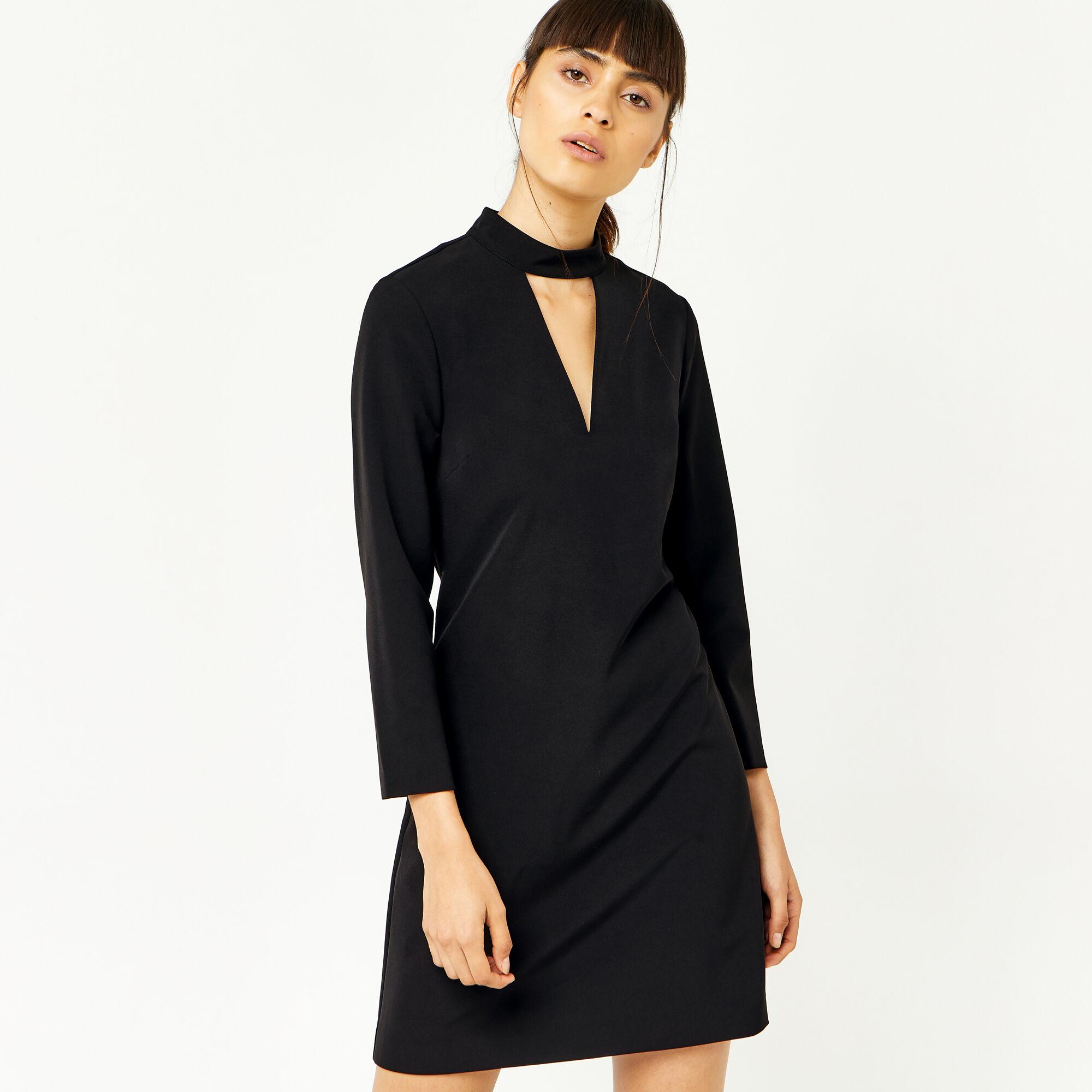 Warehouse, CUT OUT DETAIL DRESS Black 1