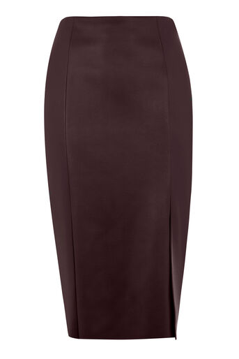 Warehouse, Faux Leather Pencil Skirt Dark Red 0