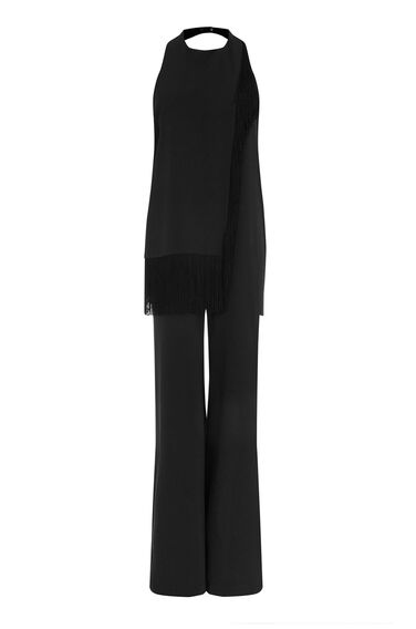 Warehouse, FRINGE HALTER JUMPSUIT Black 0