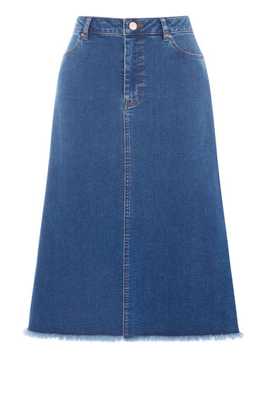 Warehouse, Flared Denim Midi Skirt Mid Wash Denim 0