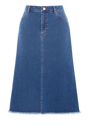 Warehouse, Flared Denim Midi Skirt Mid Wash Denim 0
