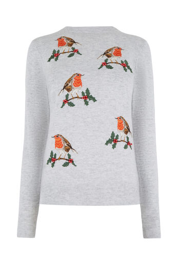 Warehouse, EMBROIDERED ROBIN JUMPER Light Grey 0