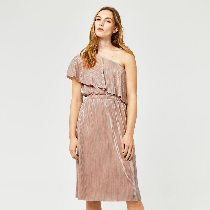 Warehouse, FOIL PLISSE ONE SHOULDER DRESS Light Pink 1