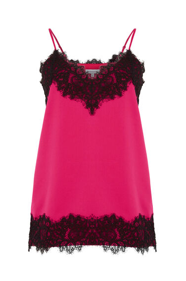 Warehouse, LACE TRIM CAMI Bright Pink 0