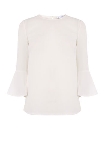 Warehouse, FLUTED SLEEVE CRINKLE TOP Cream 0