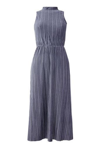 Warehouse, Fluwelen plissé midi-jurk Donkergrijs 0