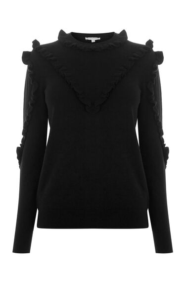 Warehouse, FRILL YOKE CREW JUMPER Black 0