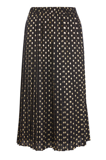 Warehouse, METALLIC SPOT PLEATED SKIRT Black Pattern 0