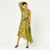 Warehouse, KYOTO FLORAL ONE SLEEVE DRESS Yellow 1