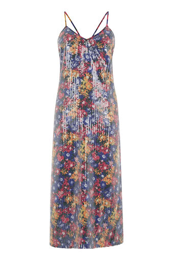 Warehouse, PRINTED SEQUIN DRESS Multi 0