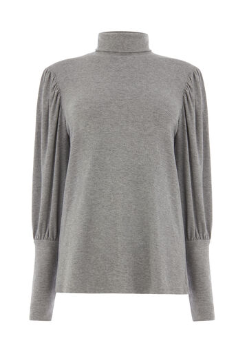 Warehouse, PUFF SLEEVE POLO NECK Dark Grey 0