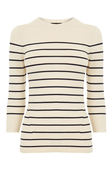 Warehouse, BRETON STRIPE CREW JUMPER Cream 0